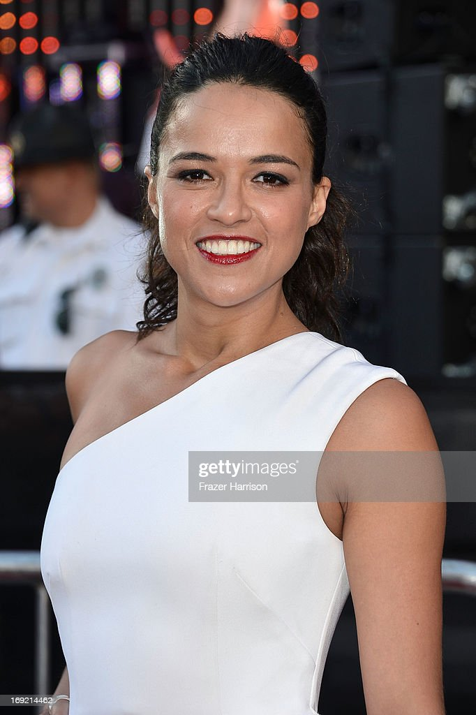 Actress Michelle Rodriguez arrives at the Premiere Of Universal Pictures' 'Fast & Furious 6' on May 21, 2013 in Universal City, California.