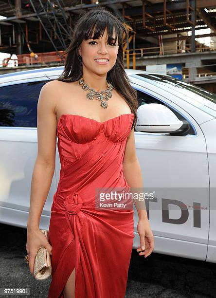 Actress Michelle Rodriguez arrives in an Audi TDI to the 18th annual Elton John AIDS Foundation Oscar Party held at Pacific Design Center on March 7...