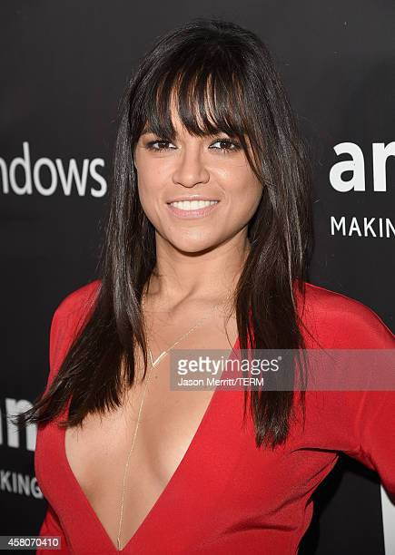 Actress Michelle Rodriguez attends amfAR LA Inspiration Gala honoring Tom Ford at Milk Studios on October 29 2014 in Hollywood California