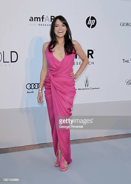Actress Michelle Rodriguez attends amfAR's Cinema Against AIDS Gala at the Hotel Du Cap during the 63rd International Cannes Film Festival on May 20...