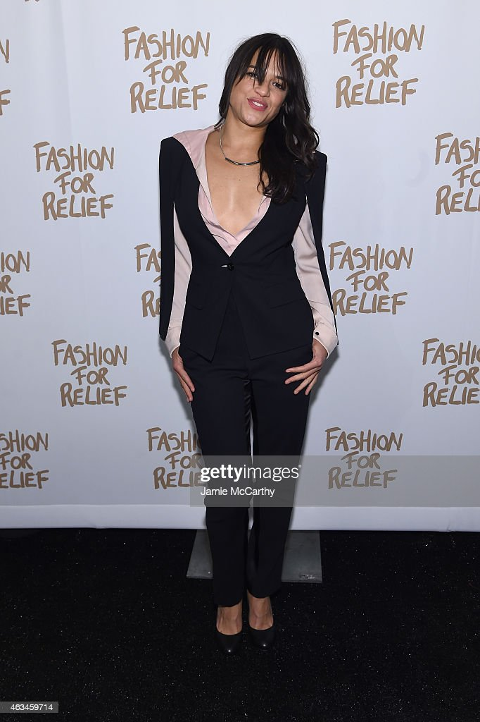 Actress Michelle Rodriguez attends Naomi Campbell's Fashion For Relief Charity Fashion Show during MercedesBenz Fashion Week Fall 2015 at The Theatre...