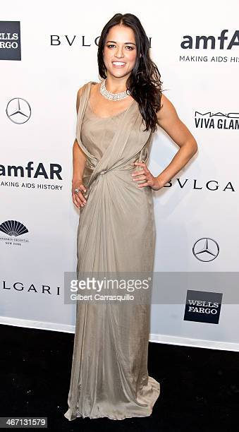 Actress Michelle Rodriguez attends the 2014 amfAR New York Gala at Cipriani Wall Street on February 5 2014 in New York City
