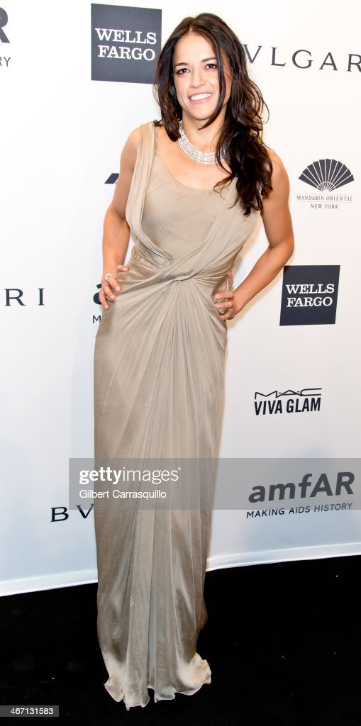 Actress Michelle Rodriguez attends the 2014 amfAR New York Gala at Cipriani Wall Street on February 5, 2014 in New York City.