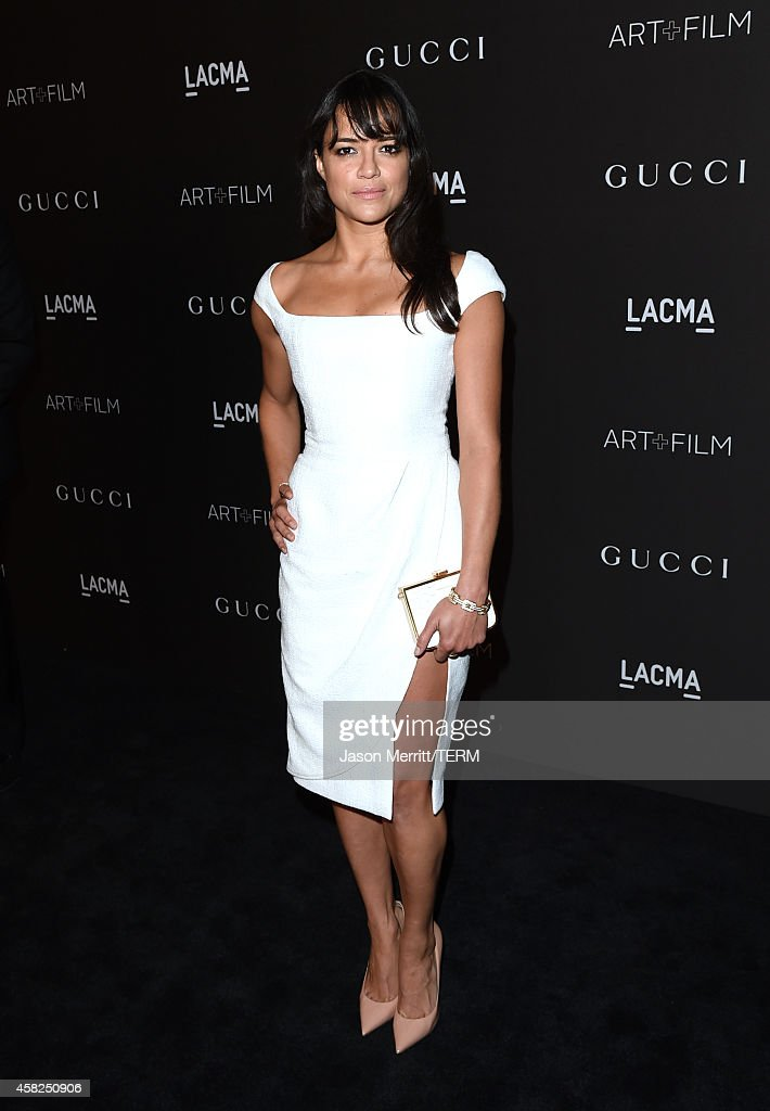 Actress <a gi-track='captionPersonalityLinkClicked' href=/galleries/search?phrase=Michelle+Rodriguez&family=editorial&specificpeople=206182 ng-click='$event.stopPropagation()'>Michelle Rodriguez</a> attends the 2014 LACMA Art + Film Gala honoring Barbara Kruger and Quentin Tarantino presented by Gucci at LACMA on November 1, 2014 in Los Angeles, California.