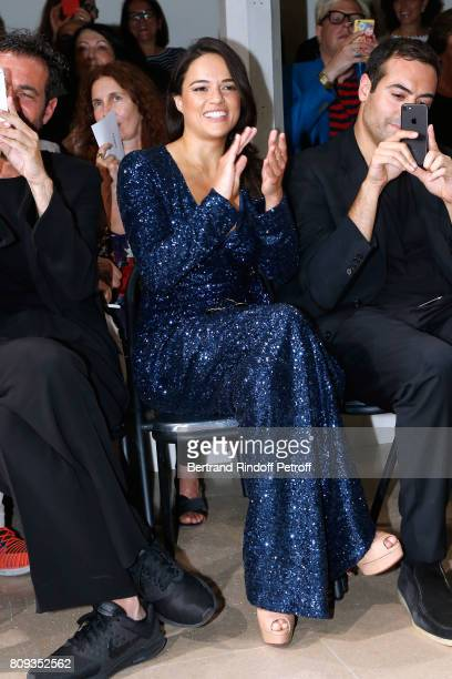 Actress Michelle Rodriguez attends the Azzedine Alaia Fashion Show as part of Haute Couture Paris Fashion Week Held at Azzedine Alaia Gallery on July...