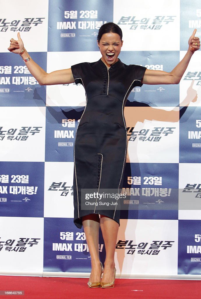 Actress Michelle Rodriguez attends the 'Fast & Furious 6' press conference on May 13, 2013 in Seoul, South Korea. Michelle Rodriguez is visiting South Korea to promote their recent film 'Fast & Furious 6' which will be released in South Korea on May 23.