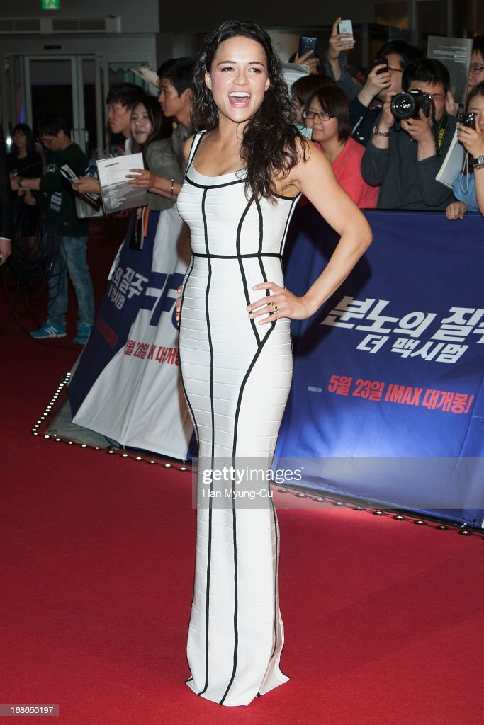 Actress <a gi-track='captionPersonalityLinkClicked' href=/galleries/search?phrase=Michelle+Rodriguez&family=editorial&specificpeople=206182 ng-click='$event.stopPropagation()'>Michelle Rodriguez</a> attends the 'Fast & Furious 6' South Korea Premiere on May 13, 2013 in Seoul, South Korea. <a gi-track='captionPersonalityLinkClicked' href=/galleries/search?phrase=Michelle+Rodriguez&family=editorial&specificpeople=206182 ng-click='$event.stopPropagation()'>Michelle Rodriguez</a> is visiting South Korea to promote her recent film 'Fast & Furious 6' which will be released in South Korea on May 23.