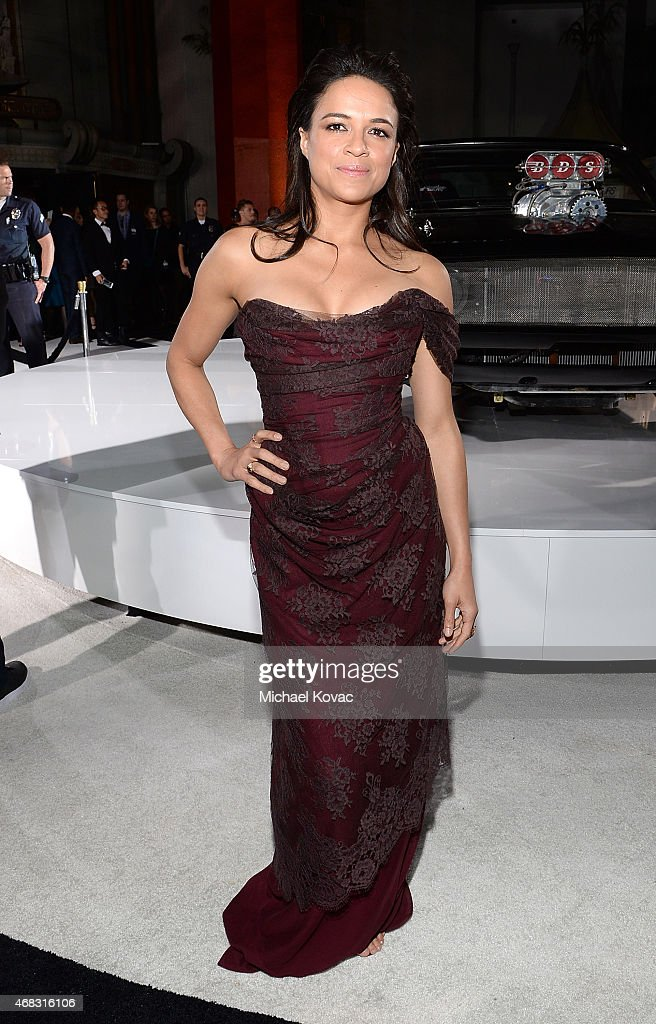 Actress <a gi-track='captionPersonalityLinkClicked' href=/galleries/search?phrase=Michelle+Rodriguez&family=editorial&specificpeople=206182 ng-click='$event.stopPropagation()'>Michelle Rodriguez</a> attends the Furious 7 Los Angeles Premiere Sponsored by Dodge at TCL Chinese 6 Theatres on April 1, 2015 in Hollywood, California.