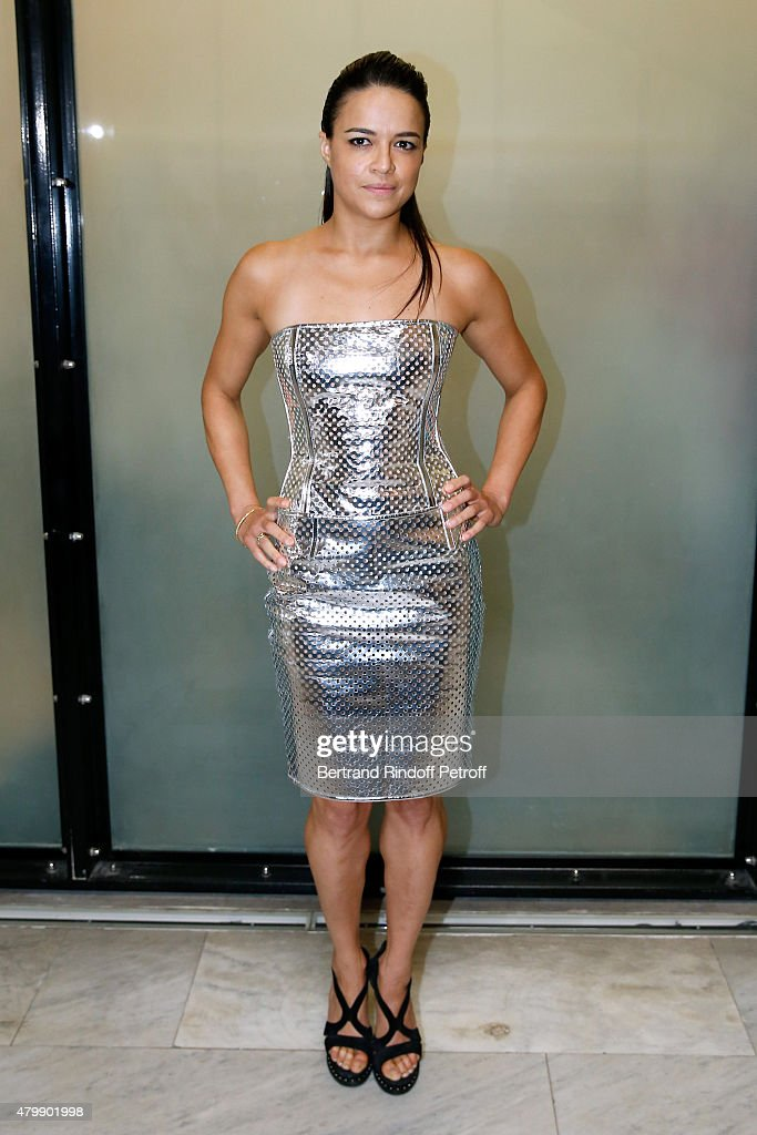 Actress Michelle Rodriguez attends the Jean Paul Gaultier show as part of Paris Fashion Week Haute Couture Fall/Winter 2015/2016 on July 8 2015 in...