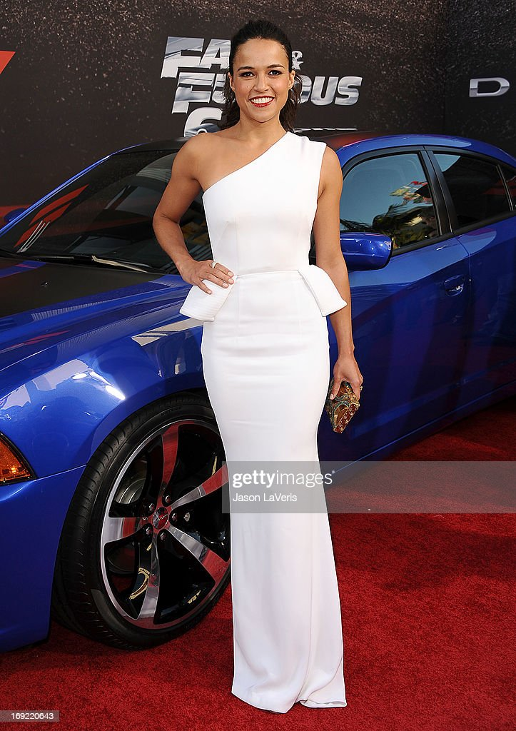 Actress Michelle Rodriguez attends the premiere of 'Fast & Furious 6' at Universal CityWalk on May 21, 2013 in Universal City, California.