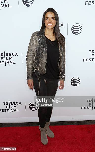 Actress Michelle Rodriguez attends the world premiere of 'Live From New York' during the 2015 Tribeca Film Festival at The Beacon Theatre on April 15...