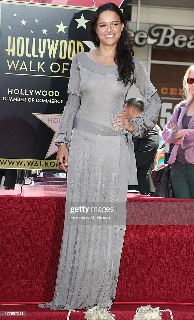 Actress Michelle Rodriguez during the ceremony honoring actor Vin Diesel on The Hollywood Walk of Fame on August 26, 2013 in Hollywood, California.