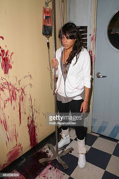 Actress Michelle Rodriguez gets handson with the Call Of Duty Black Ops 3 Beta during a visit to Treyarch Studios on August 19 2015 in Santa Monica...