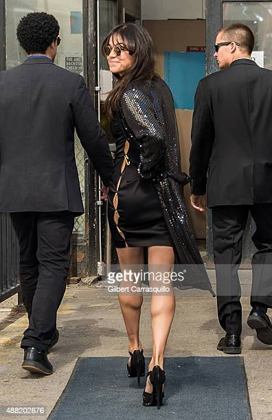 Actress Michelle Rodriguez is seen arriving at Jeremy Scott fashion show during Spring 2016 New York Fashion Week on September 14 2015 in New York...