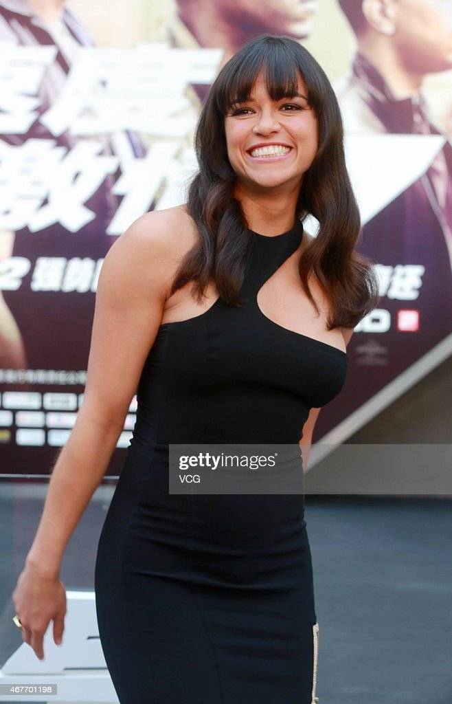 Actress Michelle Rodriguez of US attends the press conference of American new movie 'Fast Furious 7' directed by director James Wan at Sanlitun area...