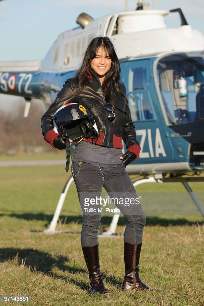 Actress Michelle Rodriguez poses for a portrait session for the Belstaff and Polizia di Stato Collection presentation on February 26 2010 in Milan...