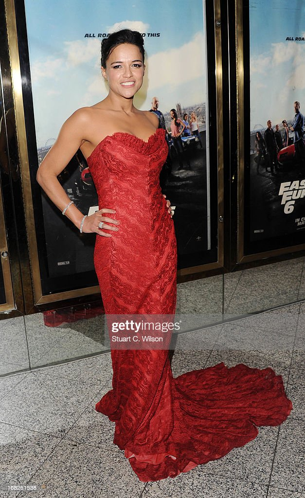 Actress Michelle Rodriquez attends the 'Fast & Furious 6' World Premiere at The Empire, Leicester Square on May 7, 2013 in London, England.