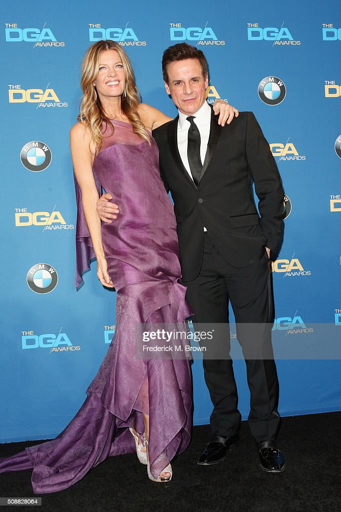 Actress Michelle Stafford and actor Christian Jules Le Blanc pose in the press room during the 68th Annual Directors Guild Of America Awards at the...