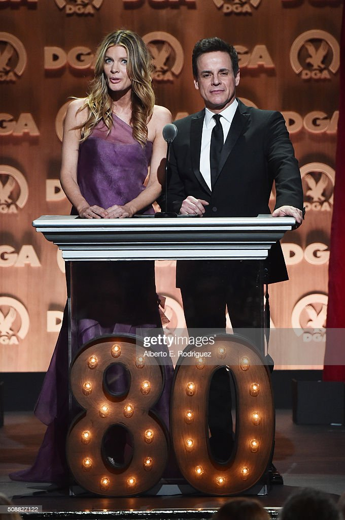 Actress Michelle Stafford and actor Christian Jules Le Blanc speak onstage at the 68th Annual Directors Guild Of America Awards at the Hyatt Regency...