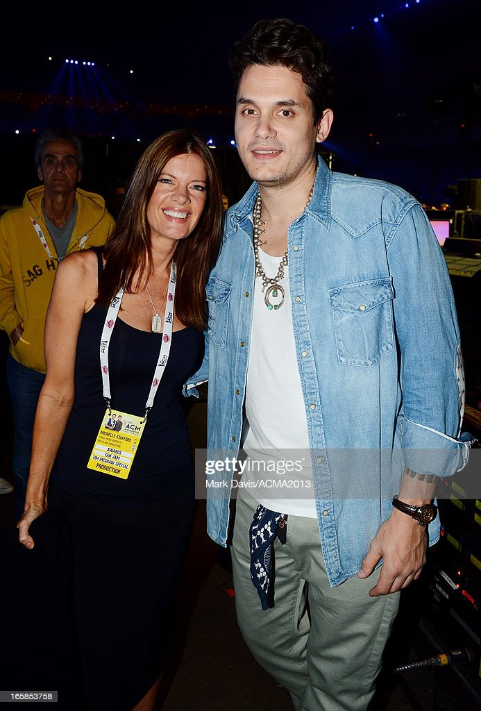 Actress Michelle Stafford and musician John Mayer attend the 48th Annual Academy Of Country Music Awards ACM Fan Jam at The Orleans on April 6 2013...