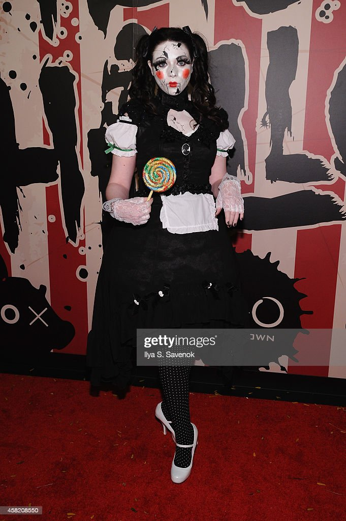 Actress Michelle Trachtenberg attends Moto X presents Heidi Klum's 15th Annual Halloween Party sponsored by SVEDKA Vodka at TAO Downtown on October...