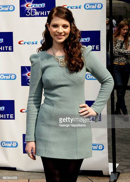 Actress Michelle Trachtenberg attends the Crest 3D White Collection Launch in Herald Square on April 6 2010 in New York City