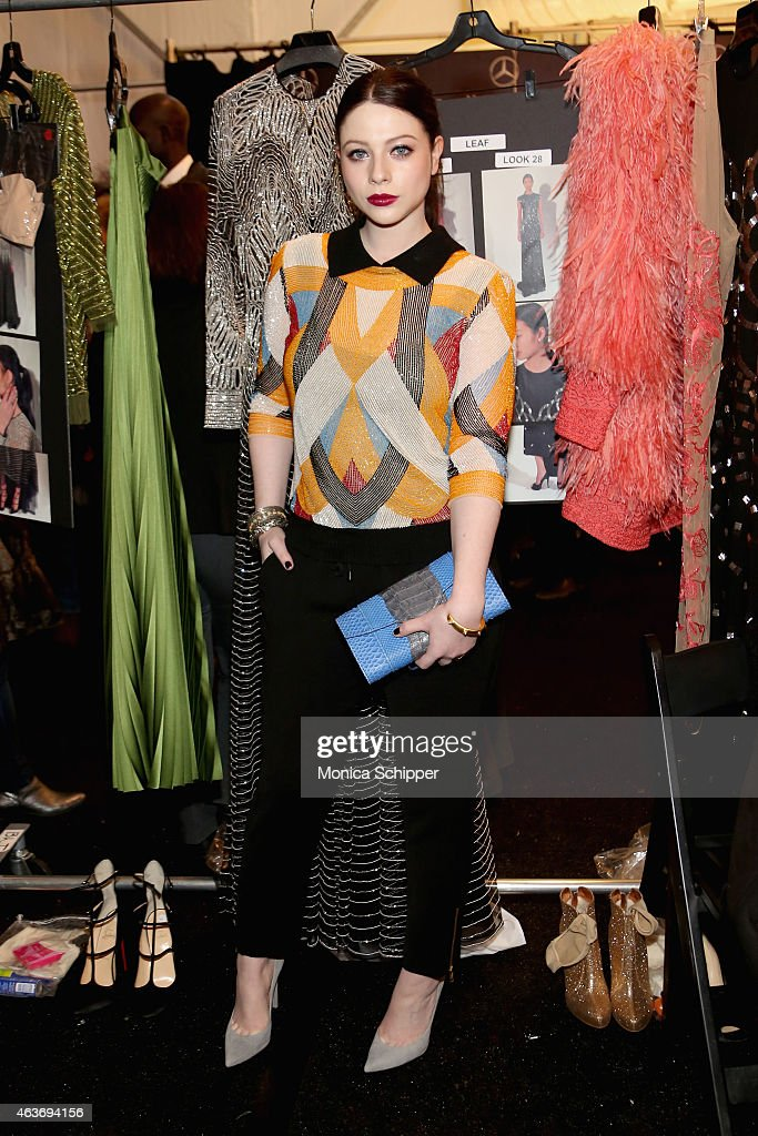 Actress Michelle Trachtenberg backstage at the Naeem Khan fashion show during MercedesBenz Fashion Week Fall 2015 at The Theatre at Lincoln Center on...
