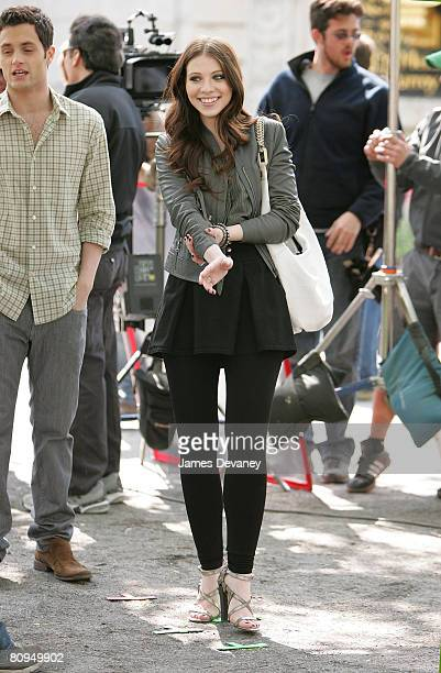 Actress Michelle Trachtenberg films on the set of 'Gossip Girl' on April 30 2008 in New York City