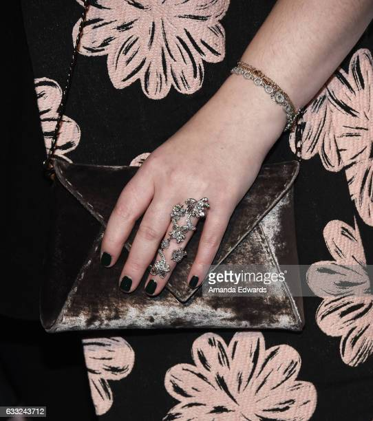 Actress Michelle Trachtenberg jewelry and handbag detail arrives at the Tyler Ellis 5th Anniversary party and launch of the Tyler Ellis x Petra...