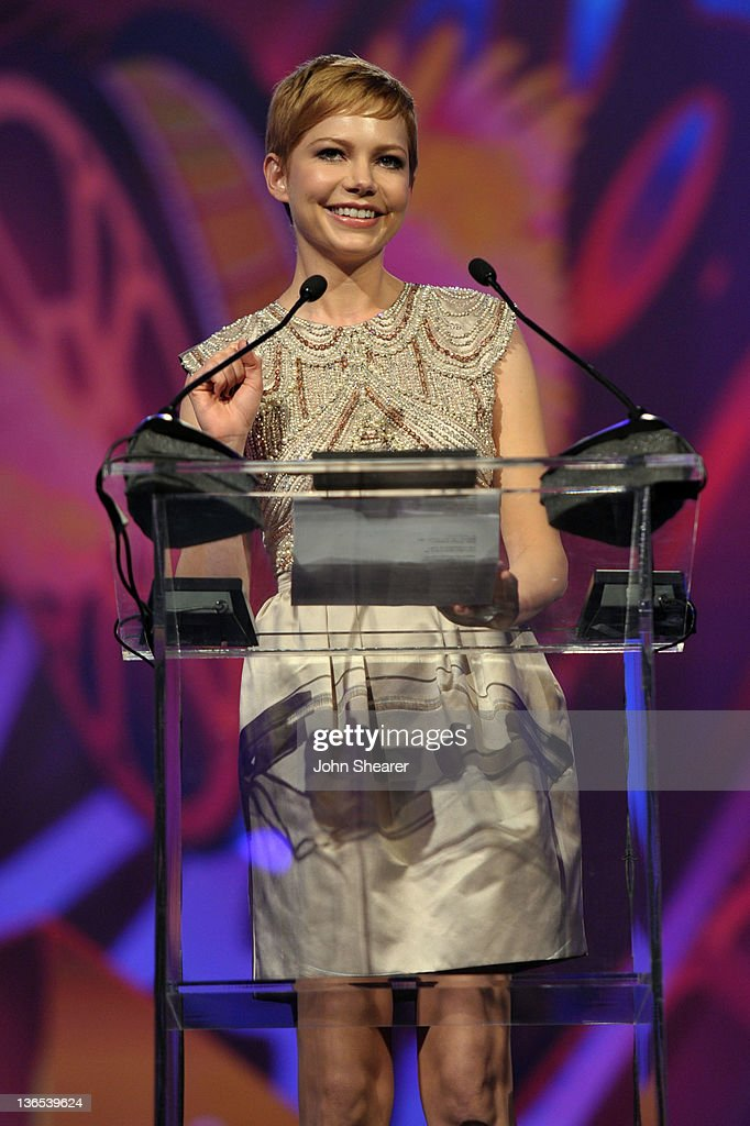 Actress <a gi-track='captionPersonalityLinkClicked' href=/galleries/search?phrase=Michelle+Williams+-+Actress&family=editorial&specificpeople=201698 ng-click='$event.stopPropagation()'>Michelle Williams</a> accepts the Desert Palm Achievement award onstage during The 23rd Annual Palm Springs International Film Festival Awards Gala at the Palm Springs Convention Center on January 7, 2012 in Palm Springs, California.