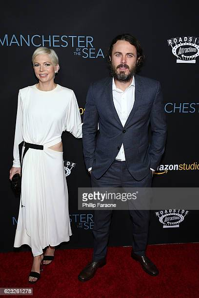 Actress Michelle Williams and actor Casey Affleck attend the premiere of Amazon Studios' 'Manchester By The Sea' at Samuel Goldwyn Theater on...