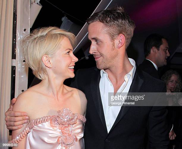 Actress Michelle Williams and actor Ryan Gosling attend the Blue Valentine After Party at Palais Stephanie during the 63rd Annual Cannes Film...
