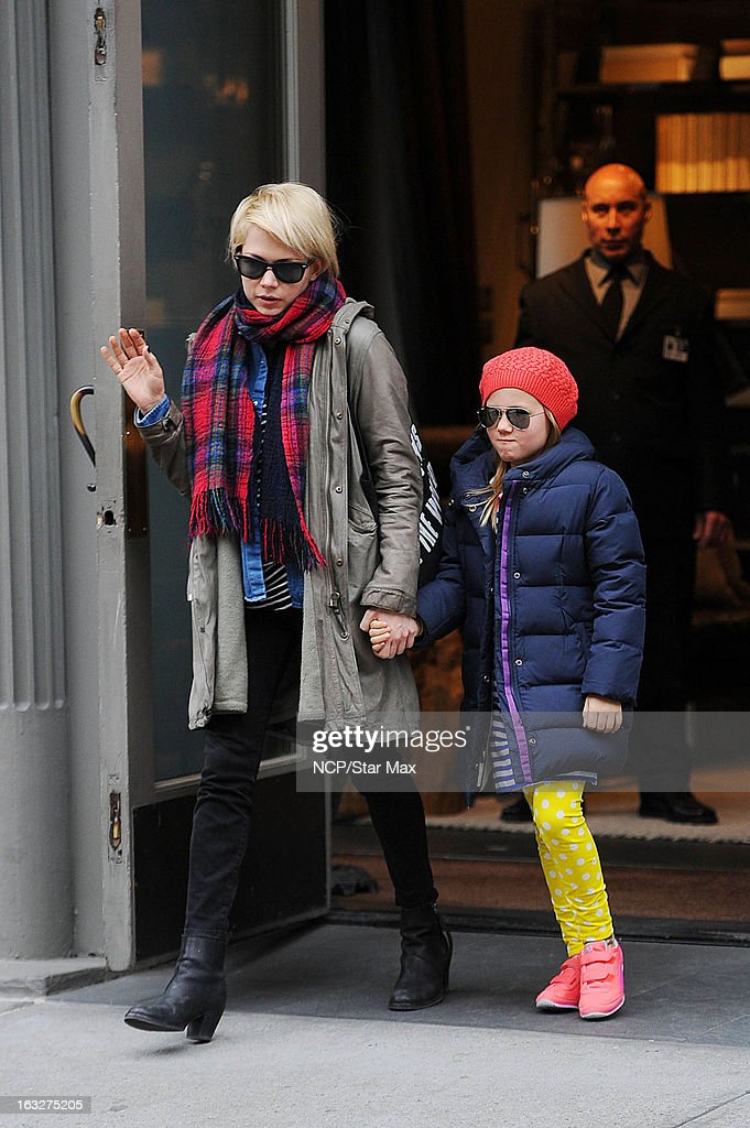 Actress Michelle Williams and her daughter Matilda Ledger as seen on March 6, 2013 in New York City.