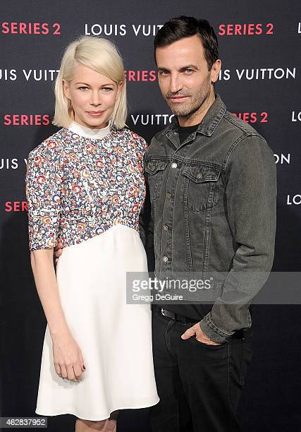 Actress Michelle Williams and Nicolas Ghesquiere arrive at Louis Vuitton 'Series 2' The Exhibition on February 5 2015 in Hollywood California