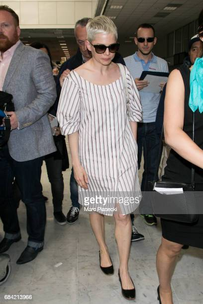Actress Michelle Williams arrives at Nice airport during the 70th annual Cannes Film Festival at on May 17 2017 in Cannes France