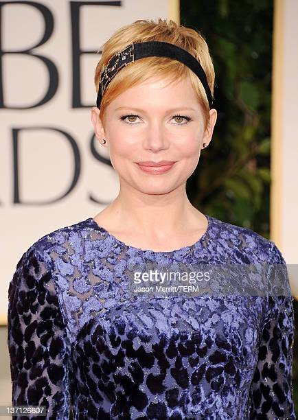 Actress Michelle Williams arrives at the 69th Annual Golden Globe Awards held at the Beverly Hilton Hotel on January 15 2012 in Beverly Hills...