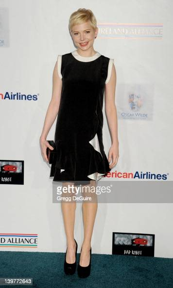 Actress Michelle Williams arrives at The USIreland Alliance Annual Oscar Wilde PreOscar Party at Bad Robot on February 23 2012 in Santa Monica...