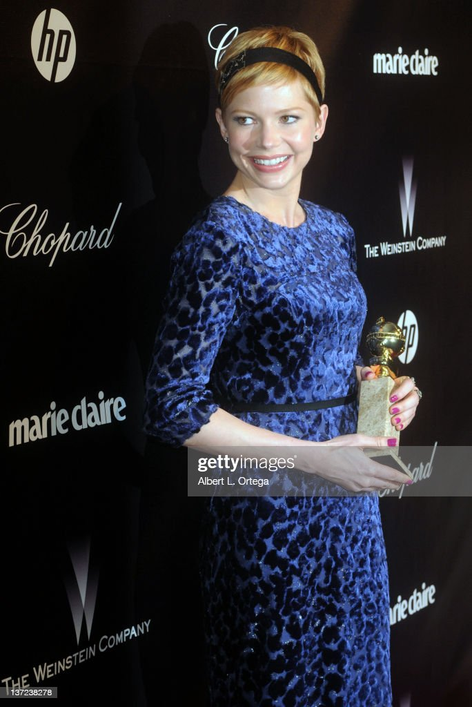 Actress <a gi-track='captionPersonalityLinkClicked' href=/galleries/search?phrase=Michelle+Williams+-+Actress&family=editorial&specificpeople=201698 ng-click='$event.stopPropagation()'>Michelle Williams</a> arrives for The Weinstein Company's 2012 Golden Globe Awards After Party held at Club 210 on January 15, 2012 in Beverly Hills, California.