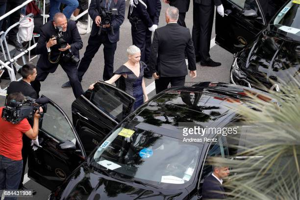 Actress Michelle Williams arrives in a car to the 'Wonderstruck' screening during the 70th annual Cannes Film Festival at Palais des Festivals on May...