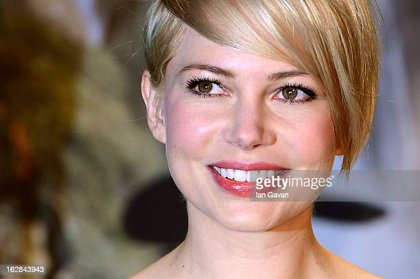 Actress Michelle Williams attends the UK film premiere of Oz The Great and Powerful at the Empire Leicester Square on February 28 2013 in London...