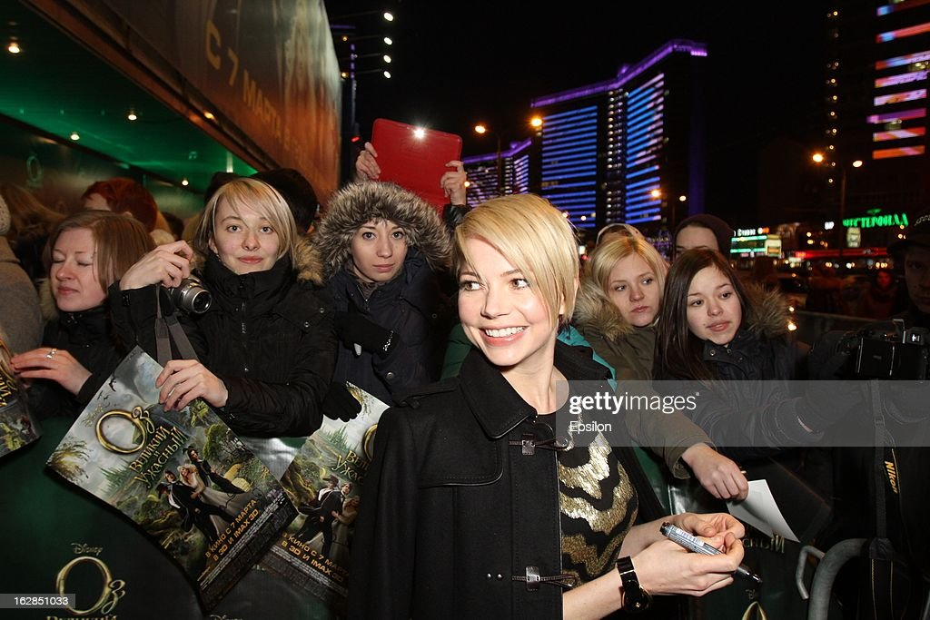 Actress Michelle Williams attends the Walt Disney Pictures Moscow premiere of 'Oz The Great And Powerful' - Red Carpet at the Okyabe cinema hall on February 27, 2013 in Moscow, Russia.