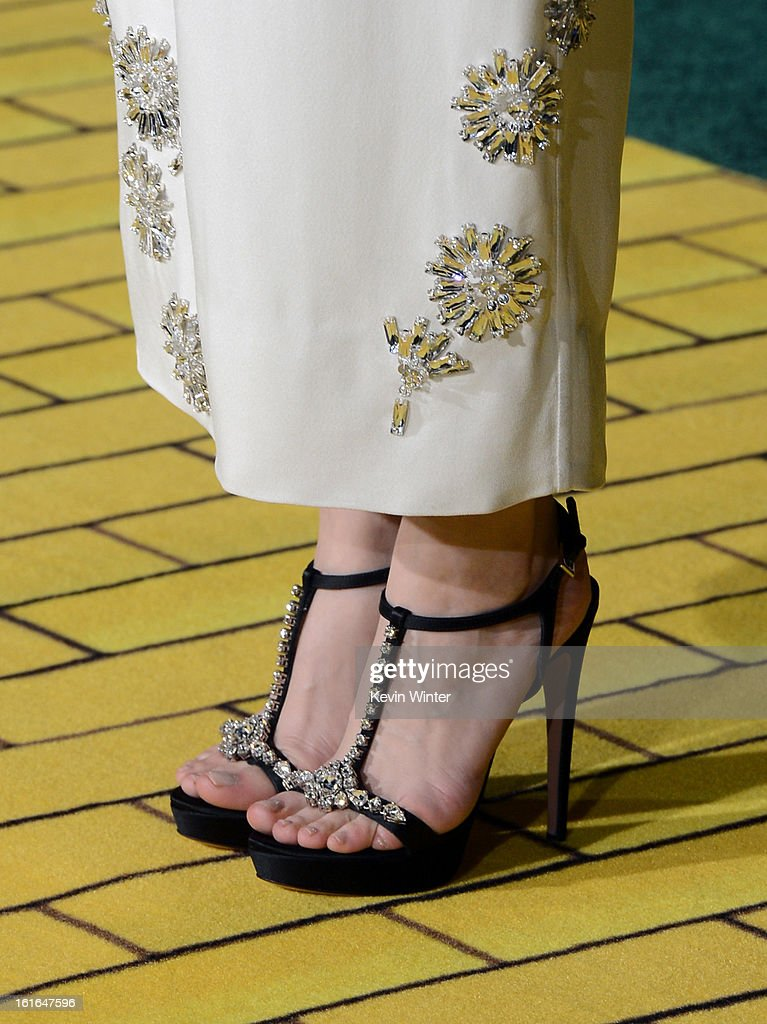 Actress Michelle Williams (shoe detail) attends the world premiere of Walt Disney Pictures' 'Oz The Great And Powerful' at the El Capitan Theatre on February 13, 2013 in Hollywood, California.