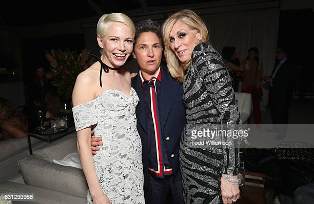 Actress Michelle Williams director Jill Soloway and actress Judith Light attend Amazon Studios Golden Globes Celebration at The Beverly Hilton Hotel...