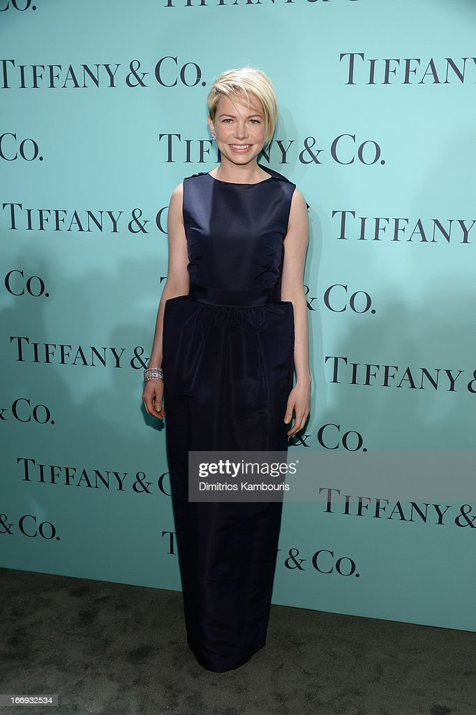 Actress Michelle Williams is wearing Diamonds from the Tiffany & Co. 2013 Blue Book Collection as she attends the Tiffany & Co. Blue Book Ball at Rockefeller Center on April 18, 2013 in New York City.