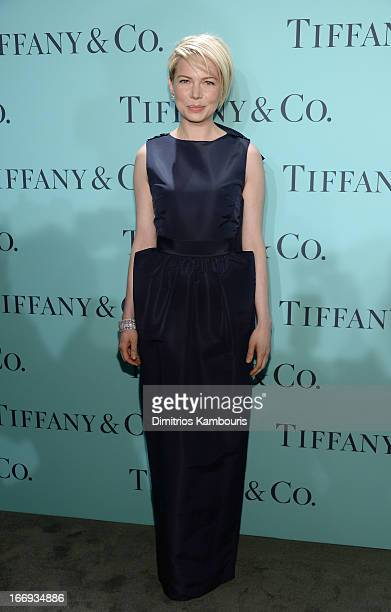 Actress Michelle Williams is wearing Diamonds from the Tiffany Co 2013 Blue Book Collection as she attends the Tiffany Co Blue Book Ball at...