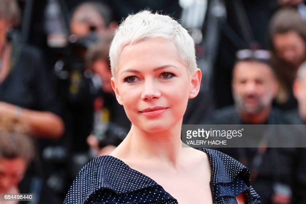 US actress Michelle Williams poses before leaving on May 18 2017 the Festival Palace after the screening of the film 'Wonderstruck' at the 70th...