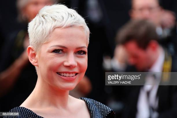 US actress Michelle Williams smiles as she leaves on May 18 2017 the Festival Palace after the screening of the film 'Wonderstruck' at the 70th...