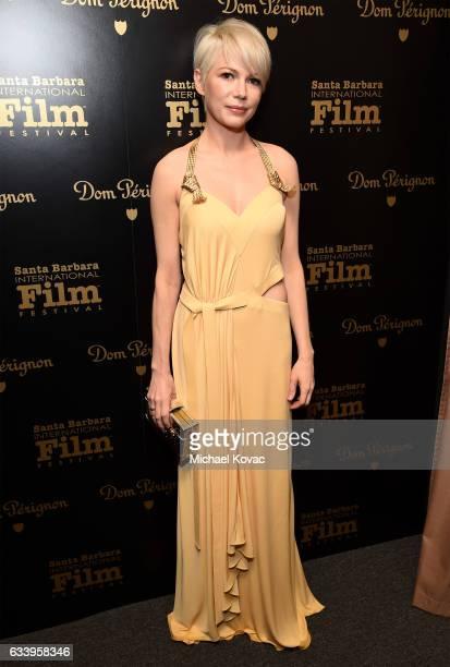 Actress Michelle Williams visits the Dom Perignon Lounge before receiving the Cinema Vanguard Award at The Santa Barbara International Film Festival...