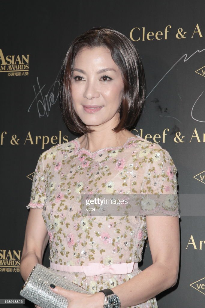 Actress <a gi-track='captionPersonalityLinkClicked' href=/galleries/search?phrase=Michelle+Yeoh&family=editorial&specificpeople=223894 ng-click='$event.stopPropagation()'>Michelle Yeoh</a> attends the 7th Asian Film Awards cocktail party at Grand Hyatt Hotel on March 17, 2013 in Hong Kong, Hong Kong.