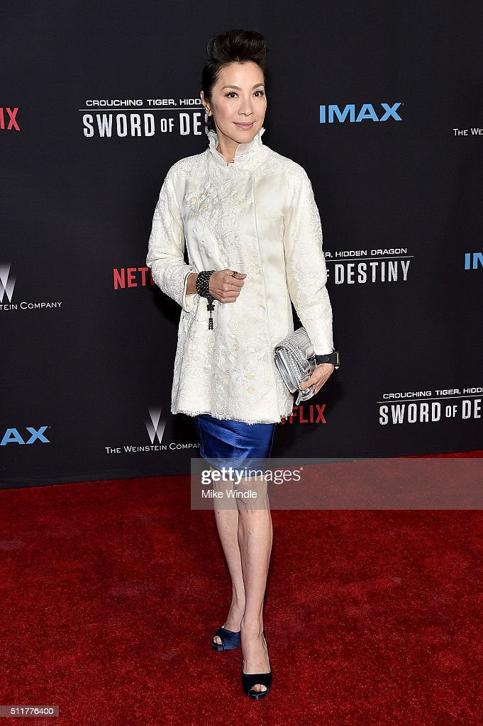 Actress <a gi-track='captionPersonalityLinkClicked' href=/galleries/search?phrase=Michelle+Yeoh&family=editorial&specificpeople=223894 ng-click='$event.stopPropagation()'>Michelle Yeoh</a> attends the premiere of Netflix's 'Crouching Tiger, Hidden Dragon: Sword Of Destiny' at AMC Universal City Walk on February 22, 2016 in Universal City, California.